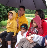 QCMS Parents and Students on a rainy day
