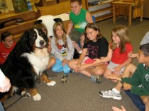 A large Saint Bernard dog sitting in front of astute children as if they are listening to what the dog has to say